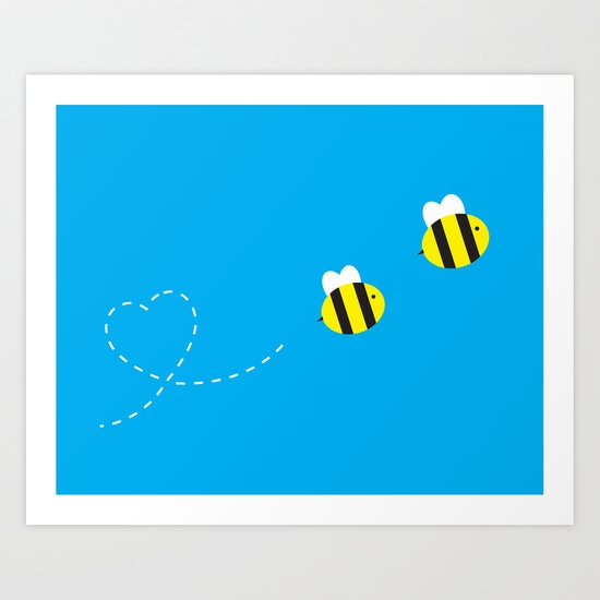 Bee in Love Art Print