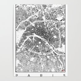 Paris Map Schwarzplan Only Buildings Poster