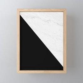 Marble And Black Diagonal Framed Mini Art Print