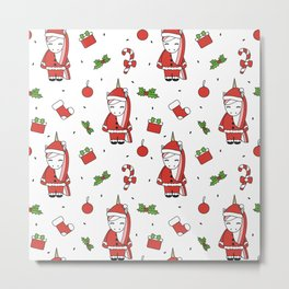 cute cartoon christmas pattern illustration with santa unicorns, gift boxes, socks, mistletoe Metal Print