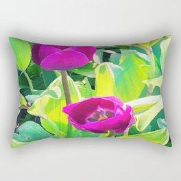 Two Tulips Rising Rectangular Pillow