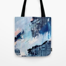 Vibes: an abstract mixed media piece in blues and pinks by Alyssa Hamilton Art Tote Bag