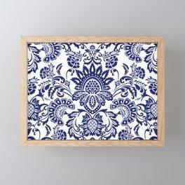 damask blue and white Framed Mini Art Print