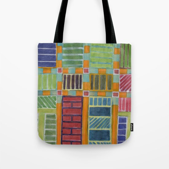 Orange-Turquoise Grid with different Fillings Tote Bag