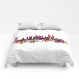 New York Skyline Silhouette Comforters
