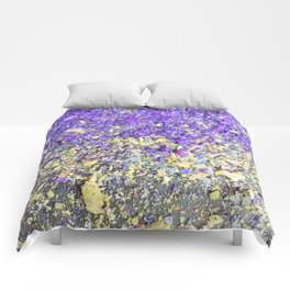 Chalk Dust Confetti Purple and Yellow Comforters
