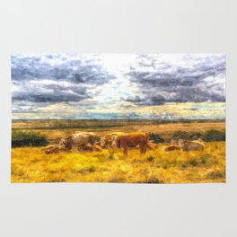 Resting Cows Art Rug