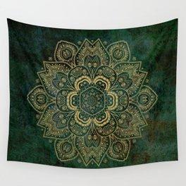 Golden Flower Mandala on Dark Green Wall Tapestry