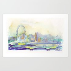 London Watercolor scenery Art Print