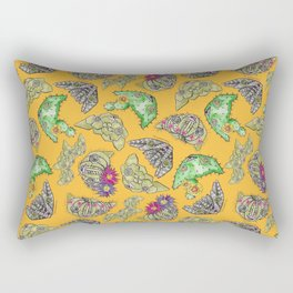 """Oro?"" Cactus with Flower Mustard Rectangular Pillow"