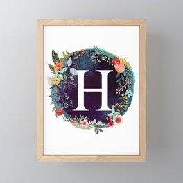 Personalized Monogram Initial Letter H Floral Wreath Artwork Framed Mini Art Print
