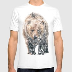 Bear MEDIUM White Mens Fitted Tee