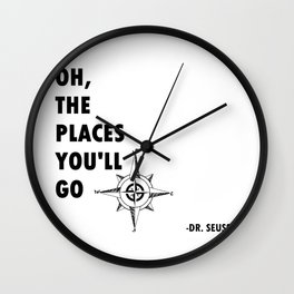 Oh, The Places You'll Go by Dr. Seuss Wall Clock