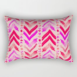 Tribal Scribble Kilim in Neon Coral + Neutral Rectangular Pillow