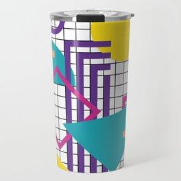 Memphis Pattern - 80s Retro White Travel Mug