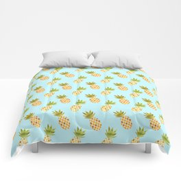 Blue Tropical Pineapple Pattern Comforters
