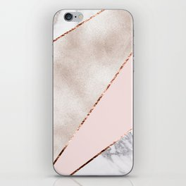 Spliced mixed rose gold marble iPhone Skin