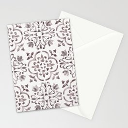 Light Wash Bloodstone - Watercolor Moroccan Tiles Stationery Cards