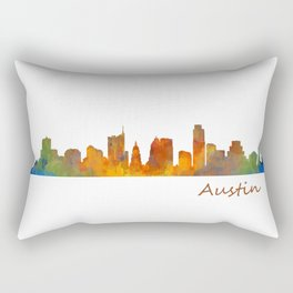 Austin Texas, City Skyline, watercolor  Cityscape Hq v1 Rectangular Pillow