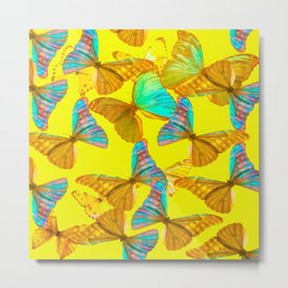 Butterflies - turquoise wings - yellow background #Society6 #buyart Metal Print