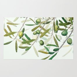 Green Olive watercolor painting Rug