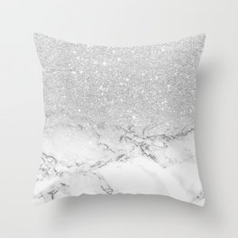 Modern faux grey silver glitter ombre white marble Throw Pillow