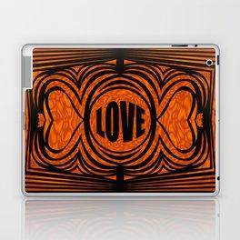 heart center1 orange and black Laptop & iPad Skin