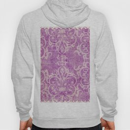 Antique rustic purple damask fabric Hoody