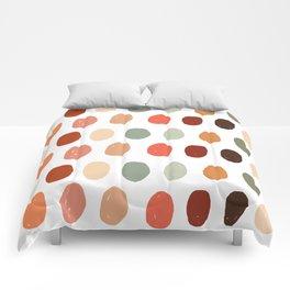 Warm Autumn, minimal retro Hand drawn pastel dots pattern Comforters