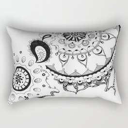 Black and White Boho Rectangular Pillow