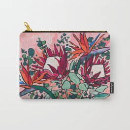 Cockatoo Vase on Painterly Pink Carry-All Pouch