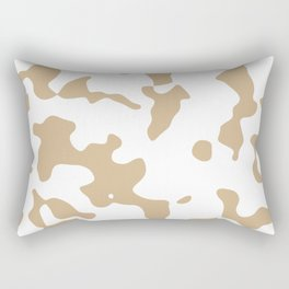 Large Spots - White and Tan Brown Rectangular Pillow