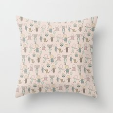 Children Playing-on Peach Throw Pillow