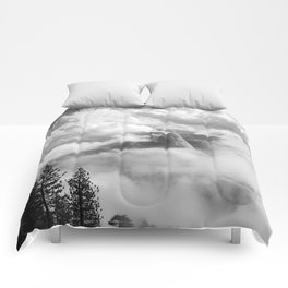 Half Dome in the Clouds, Yosemite National Park, Yosemite Photography, Black and White Photography Comforters