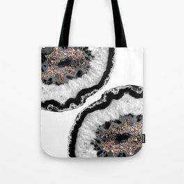 Gray Black White Agate Glitter Glamor #4 #gem #decor #art #society6 Tote Bag