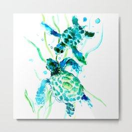 Sea Turtles, Turquoise blue Design Metal Print