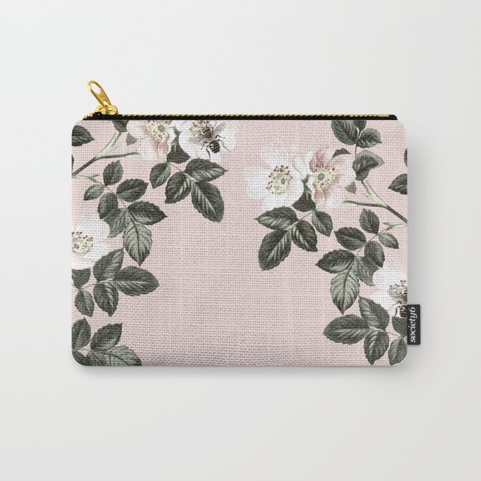 Bees + Blackberries on Pale Pink Carry-All Pouch