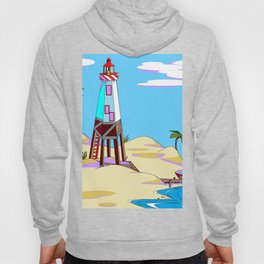 A Lighthouse on the Lazy, Sunny Beach with Palm Trees Hoody