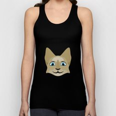 Anime Cat Face With Blue Eyes Unisex Tank Top