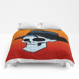 Ricky Fedora Skull in Color Comforters