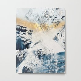 Sunset [1]: a bright, colorful abstract piece in blue, gold, and white by Alyssa Hamilton Art Metal Print