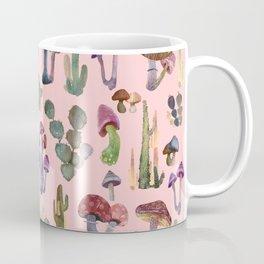 Cactus an Mushrooms Pattern on pink Coffee Mug