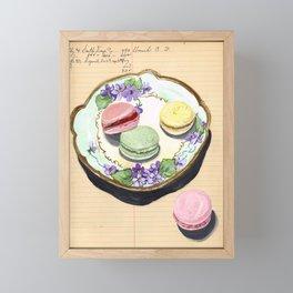 Macarons on an Antique Plate in Gouache Framed Mini Art Print