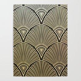 Golden Art Deco pattern Poster