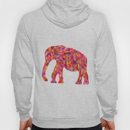 Bright orange mosaic elephant Hoody