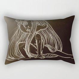 Girl On Black Rectangular Pillow