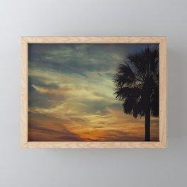 Florida Sunset with Palm Tree Framed Mini Art Print