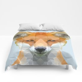 Low poly fox on blue/grey background Comforters