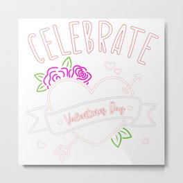 Celebrate Valentine's Day Rose Arrow Metal Print