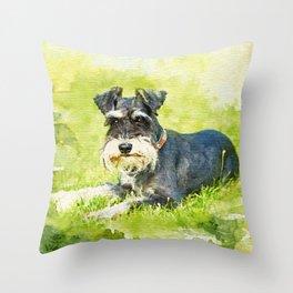 Miniature Schnauzer Watercolor Digital Art Throw Pillow